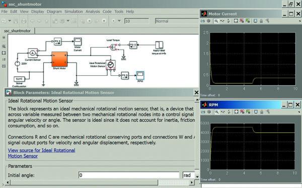Диаграмма моделирования переходных процессов шунтового электродвигателя