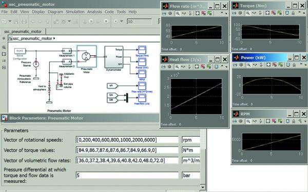 Диаграмма моделирования пневматического двигателя