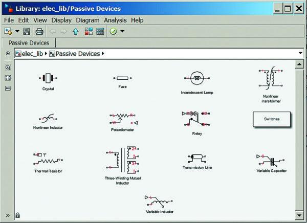 Окно с блоками пассивных элементов библиотеки пакета SimElectronics