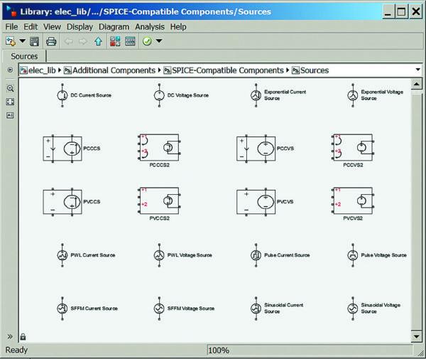 Окно раздела SPICE-моделей источников