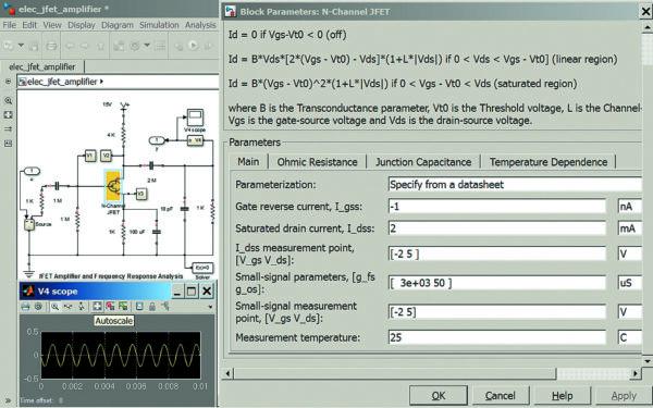 Диаграмма модели усилительного каскада на полевом транзисторе
