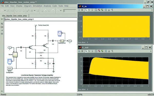 Диаграмма модели двухкаскадного усилителя на биполярных транзисторах