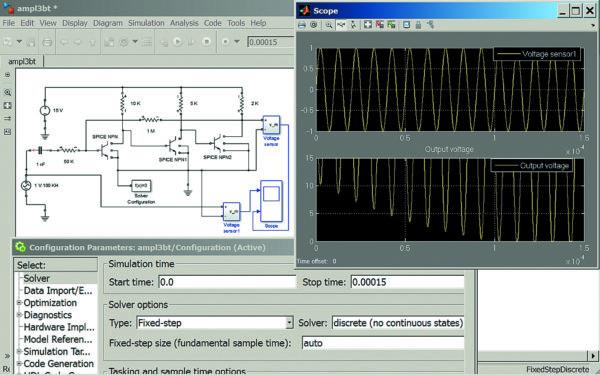 Диаграмма моделирования трехкаскадного усилителя-формирователя, работающего в нелинейном режиме