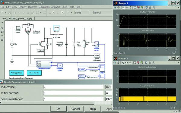 Диаграмма работы понижающего преобразователя на мощных полевых транзисторах