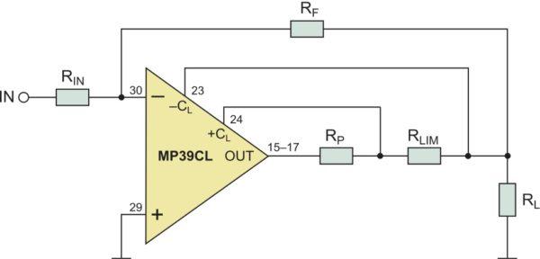 Способ подключения токоограничивающего резистора для усилителя MP39CL