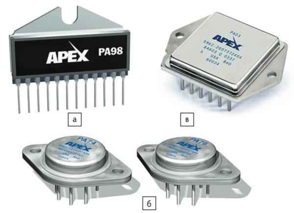 Корпусное исполнение гибридных усилителей Apex Microtechnology: а) POWERSIP; б) T0-3; в) MO-127
