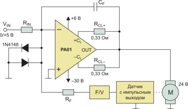 Типовая схема применения ОУ PA01