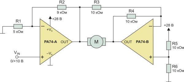 Типовая схема включения усилителя PA74
