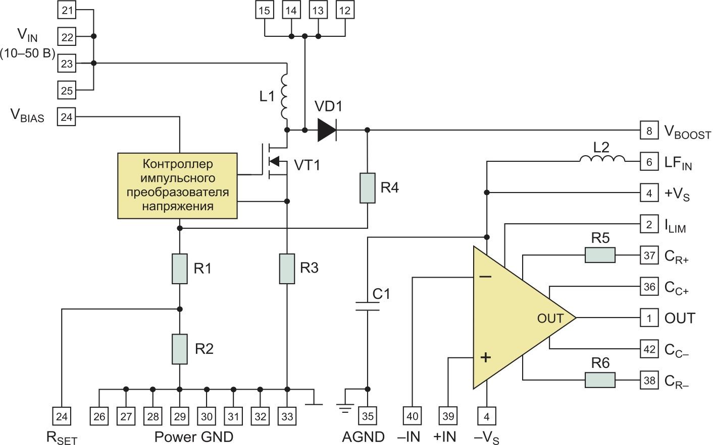 Внутренняя структура усилителя MP400FC