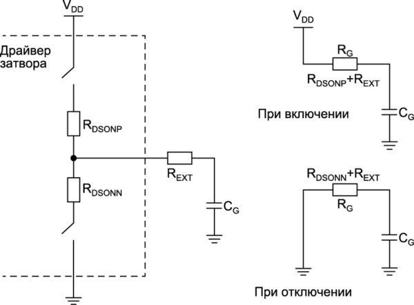 Модель RC-цепи для драйвера затвора с выходным каскадом на основе МОП-транзистора и силовым транзистором, изображенным в качестве конденсатора