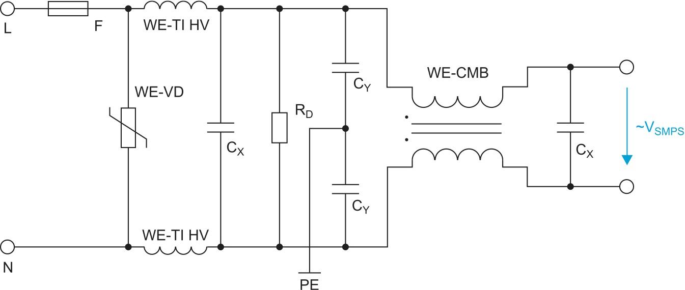 Сетевой фильтр с синфазным дросселем WE-CMB и двумя дросселями WE-TI HV