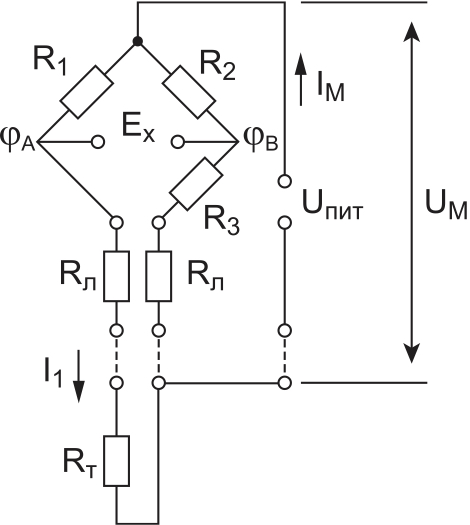 Рис. 1. Классическая мостовая схема подключения датчика
