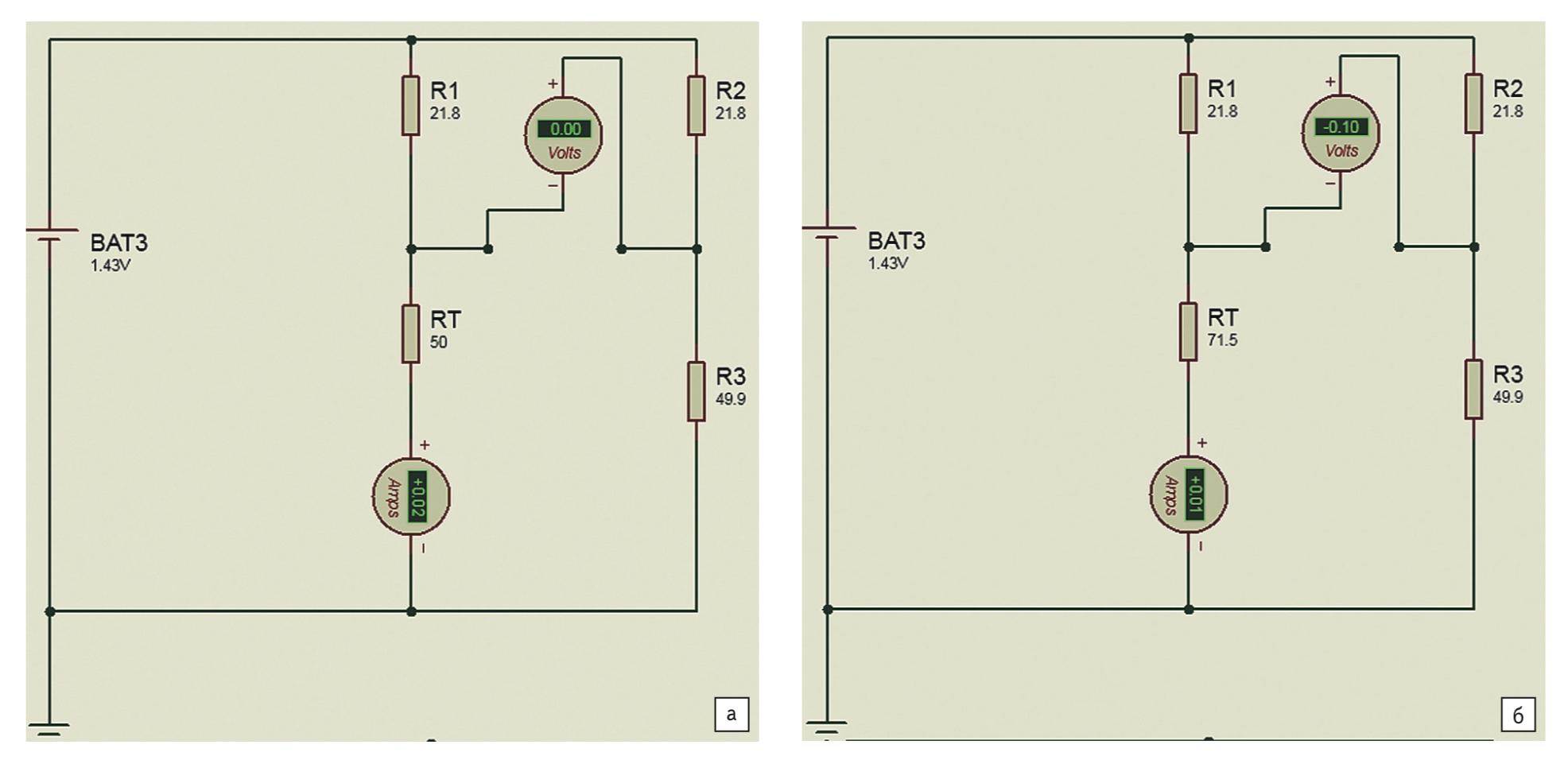 Моделирование в Proteus мостовой схемы без учета сопротивления нагрузки: а) для Rt1 = 50 Ом; б) для Rt2 = 71,5 Ом