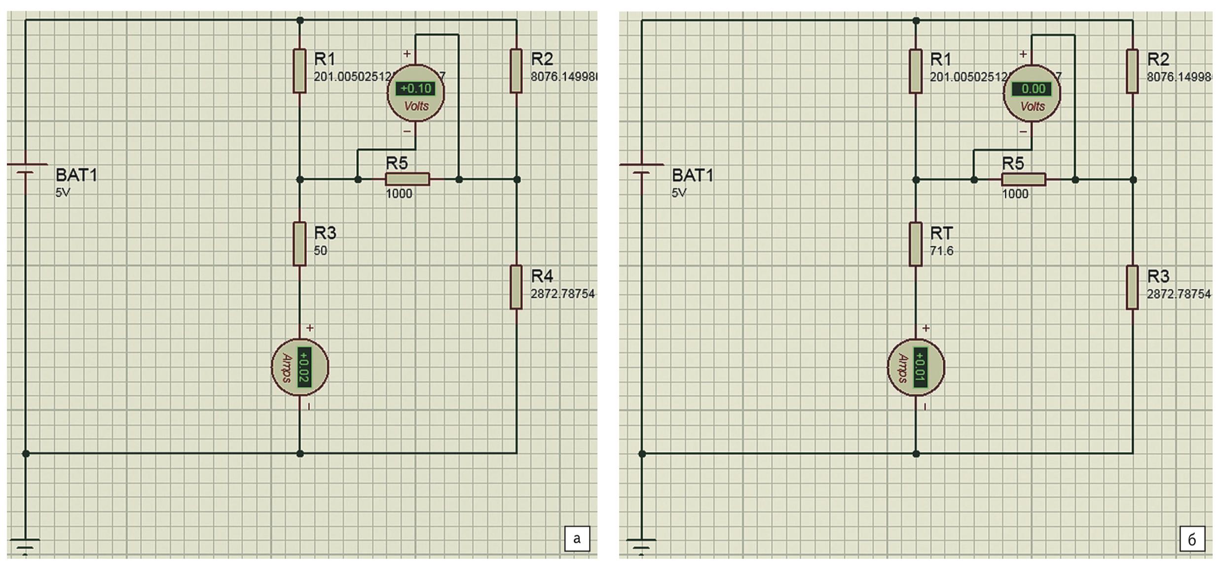 Моделирование в Proteus мостовой схемы с учетом сопротивления нагрузки: а) для Rt1 = 50 Ом; б) Rt2 = 71,5 Ом