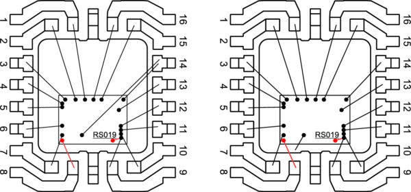 Варианты подключения встроенных в ИС интерфейса RS 232 защитных TVS-диодов (на рисунке диаметр используемой для корпусирования проволоки не учитывается)