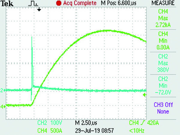 Временная диаграмма тока при воздействии импульса 3 кA 8/20 на P3800MEL без подключенной линии 240 В
