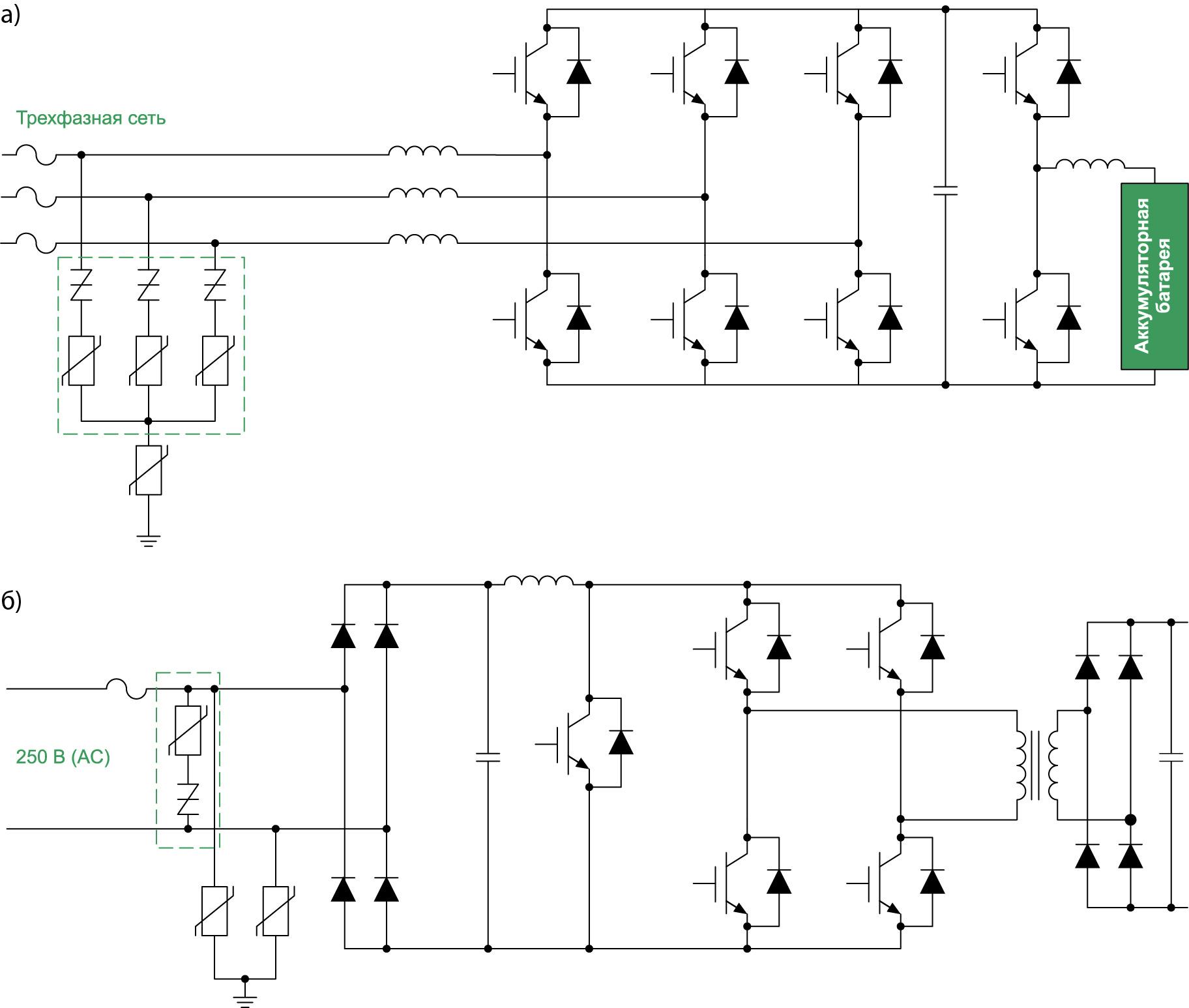 Защита зарядной станции для электромобилей EV/HEV DC при питании от трехфазной сети