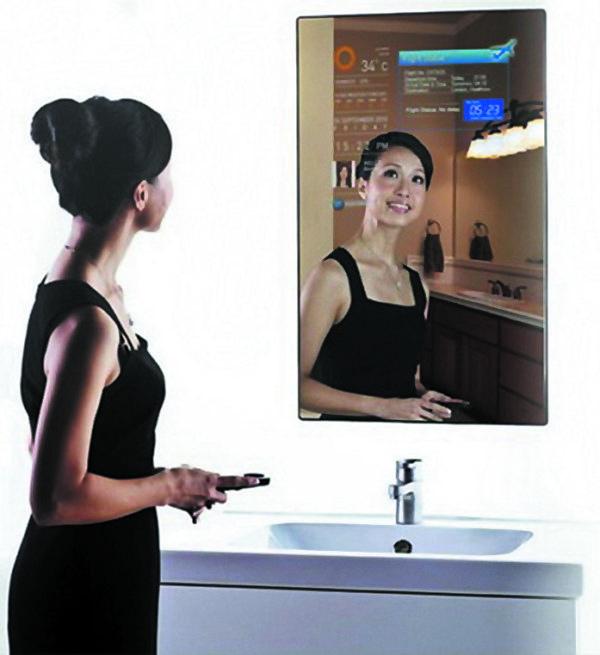 «Умное» информационное зеркало вванной комнате