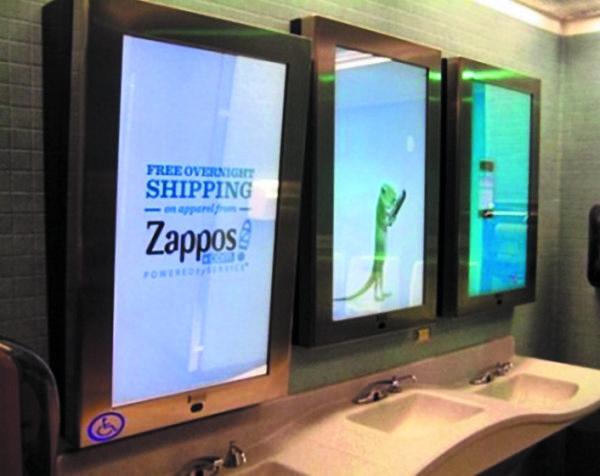 Рекламные зеркала-дисплеи ваэропорту Чикаго