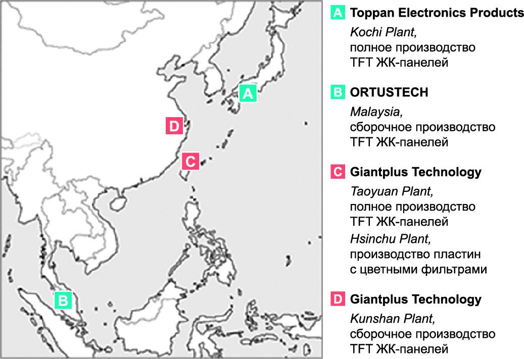 Расположение фабрик производства ЖК-панелей компании Toppan