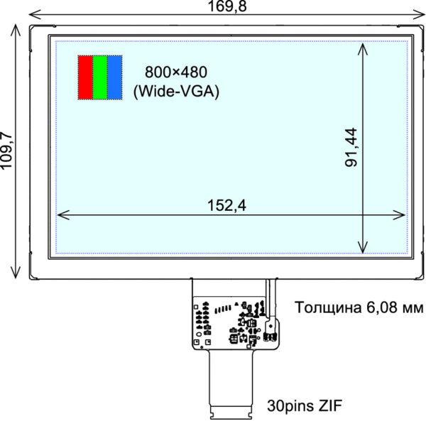 Внешний вид 5″ TFT ЖК-панели COM50H5N01ULC Wide-VGA