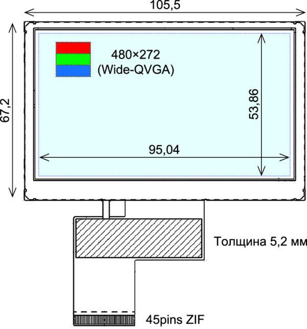 Внешний вид 4,3″ TFT ЖК-панели COM43H4N44ULC