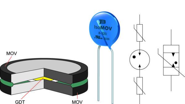 Гибридный компонент для защиты от перенапряжения IsoMOV компании BOURNS: конструкция, внешний вид и варианты условного графического обозначения на электрических схемахРис. 7. Гибридный компонент для защиты от перенапряжения IsoMOV компании BOURNS: конструкция, внешний вид и варианты условного графического обозначения на электрических схемах