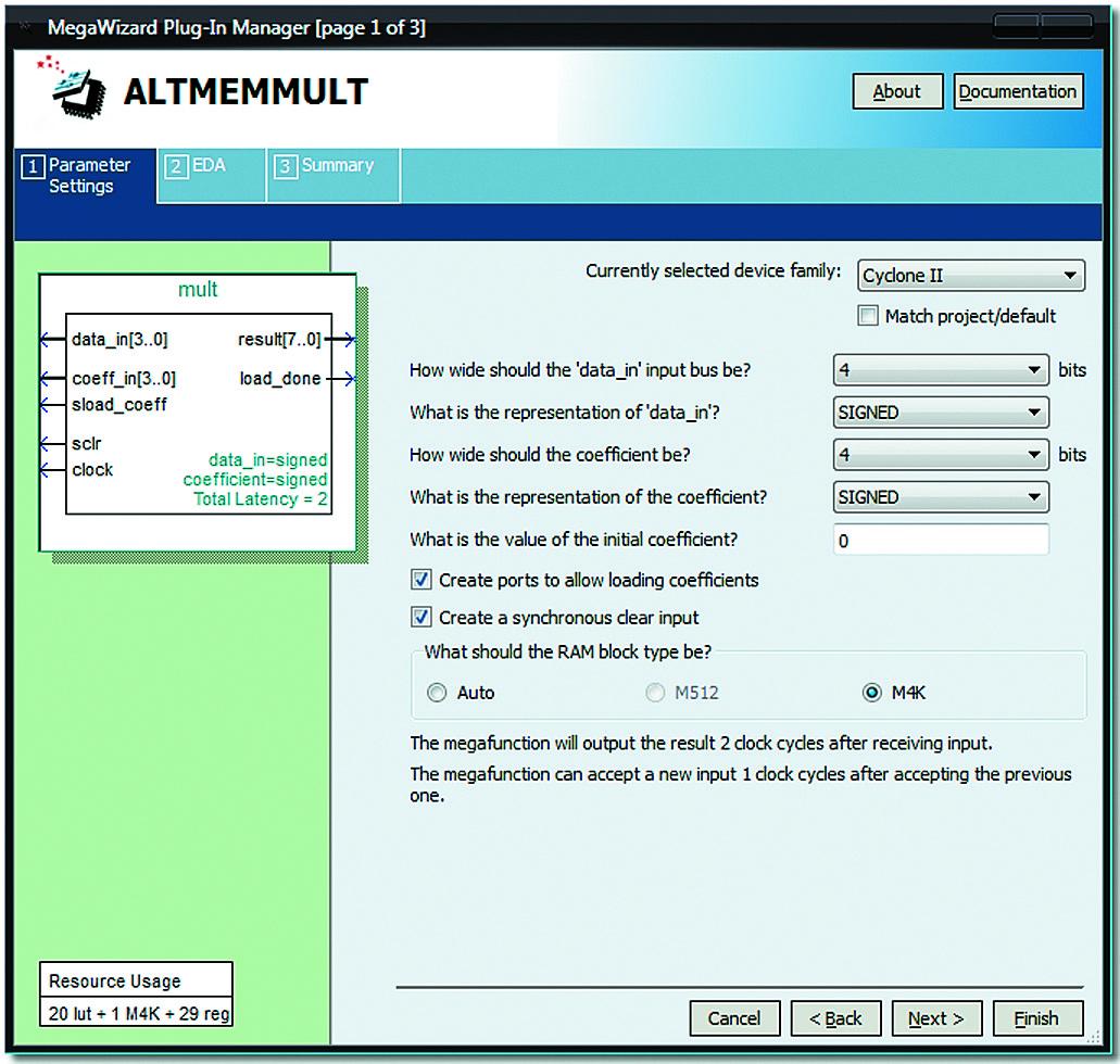 Мегафункция ALTMEMMULT, настроенная для реализации программного умножителя 4×4