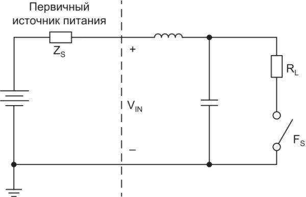 Упрощенное измерение дифференциальной помехи на входе. Дифференциальная помеха на входе является током, который протекает в системе электропитания вследствие разницы напряжения между двумя входными проводниками. Для управления (контроля) такой помехой она должна быть сначала измеренной. Измерение напряжения между входными выводами преобразователя определяет входной ток пульсации умножением на эквивалентный импеданс первичного источника