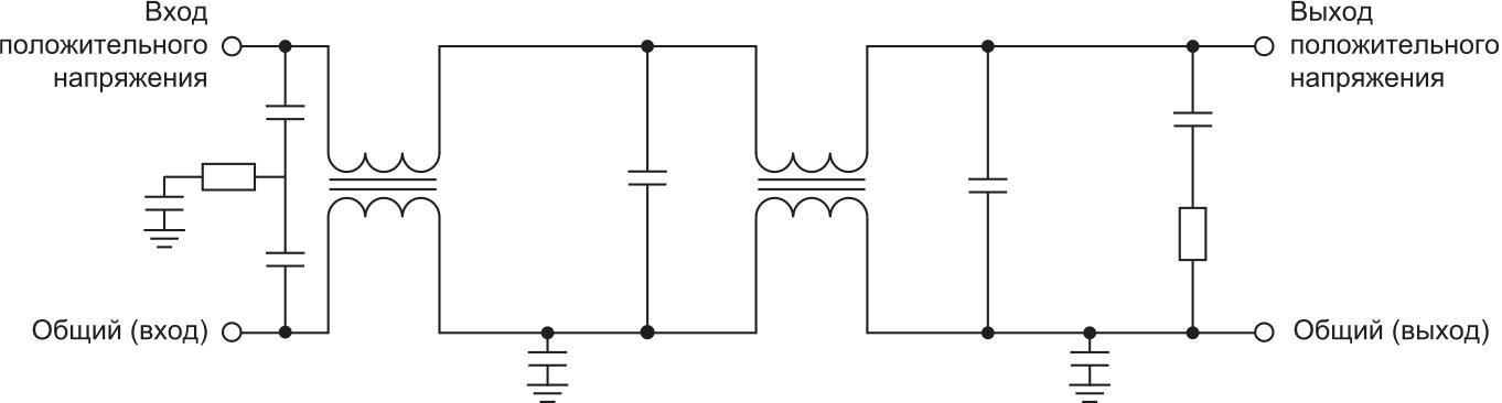 Схема помехоподавляющего фильтра FMCE-0828 с демпфирующими элементами на выходе