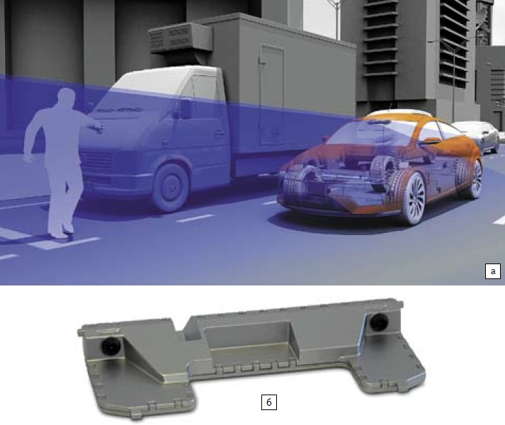 Стереокамера— интегрированный сенсорный блок на основе двух монокамер от Continental: а) работа камеры; б) конструкция: две интегрированные монокамеры, разнесенные на 20 см