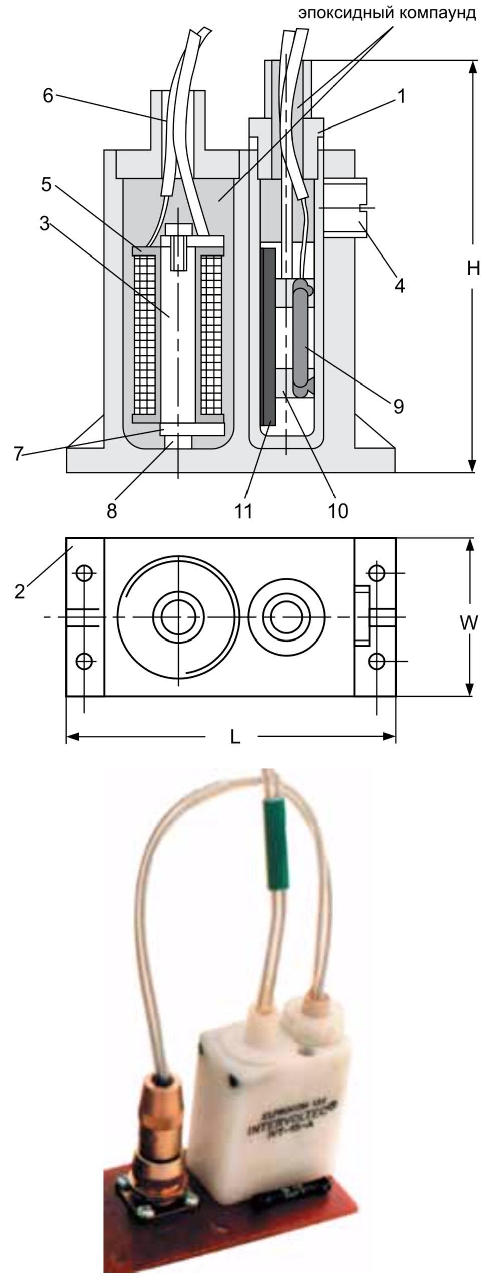 Конструкция компактного реле с регулируемым порогом срабатывания, выполненного по схеме с эксцентричным перемещением геркона