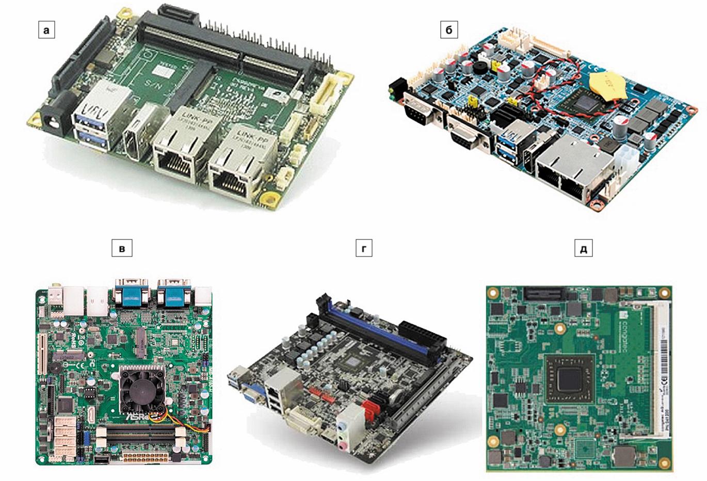 Примеры реализаций, использующих микросхемы AMD G‐Series SOC: а) плата Pico‐ITX в форм‐факторе 2,5′′ от Seco pITX‐GX; б) плата компании Avalue в форм‐факторе 3,5′′; в) плата стандарта Mini‐ITX от ASRock; г) плата стандарта Mini‐ITX от Sapphire; д) компактная плата COM Express компании Congatec
