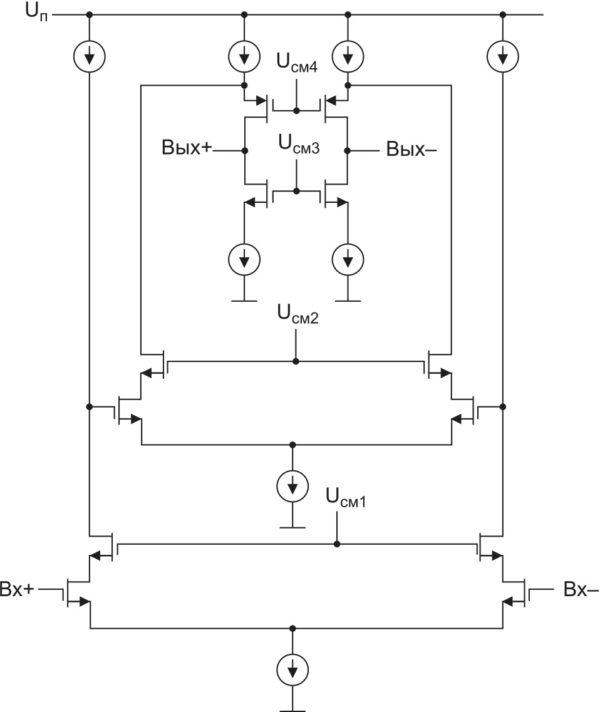 Типовая схема усилителя для конвейерного АЦП