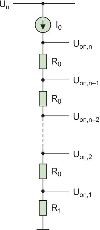 Опорная цепочка. R1 — резистор, определяющий значение нижнего опорного напряжения Uоп,1 (Uоп,1 = I0×R1)