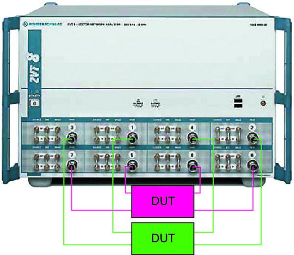 Пример подключения двух четырехполюсников к портам анализатора ZVT