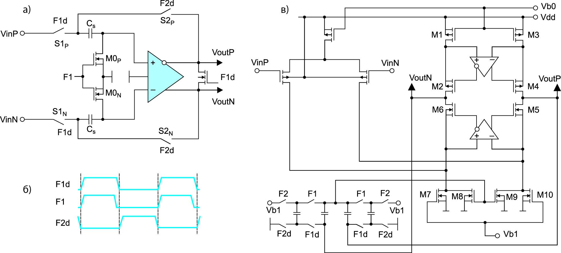 Схема УВХ (а) и временная диаграмма его работы (б); схема разработанного ОУ, используемого в УВХ (в)