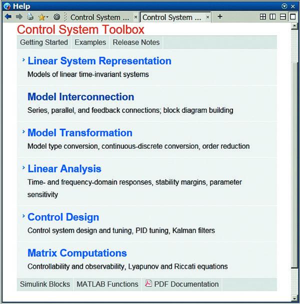 Окно справки пакета Control System Toolbox