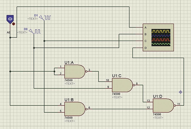 Подключение компонента LOGICTOGGLE, двух генераторов DCLOCK и четырехканального осциллографа к схеме мультиплексора на два информационных входа, спроектированного на вентилях 2И‐НЕ