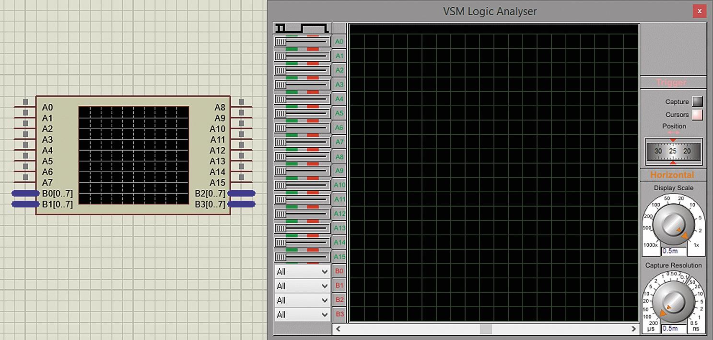 Пиктограмма логического анализатора на схеме и его лицевая панель