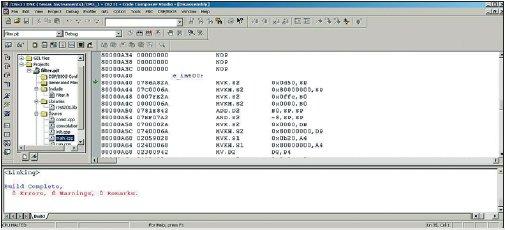Рис. 17. Вид CCS после трансляции программы и загрузки исполняемого модуля в память процессора