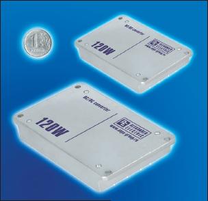 Рис. 3. Модули электропитания линий МДМ 110×84×13 мм (внизу) и МДМ-П 95×68×13 мм (вверху). Номинальная мощность 120 Вт