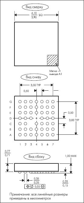 Размеры и расположение выводов корпуса 48VFBGA (MicroStar Junior BGA)