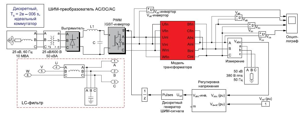 Схема AC/DC/AC-преобразователя
