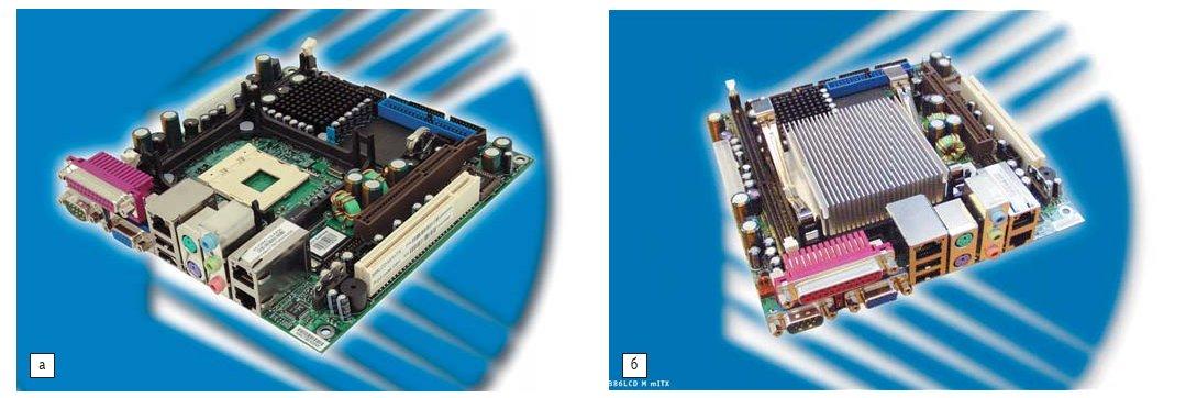 Рис. 1. а) Промышленная материнская плата Kontron 886LCD M/mITX, поддерживающая процессоры Intel Pentium M и способная осуществлять независимый вывод на два дисплея; б) модифицированная плата Kontron 886LCD M/mITX, оснащенная 600 МГц процессором Intel ULV Celeron