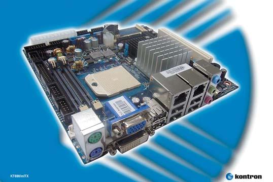 Рис. 2. Промышленная материнская плата KT690/mITX, поддерживающая загрузку с флэш памяти и способная осуществлять независимый вывод на два дисплея