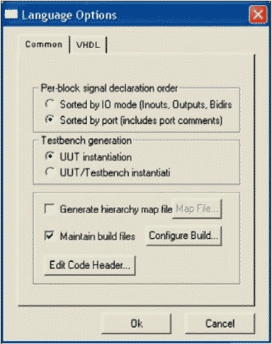 Диалоговое окно Language Options (в демонстрационной версии отсутствует закладка Verilog)