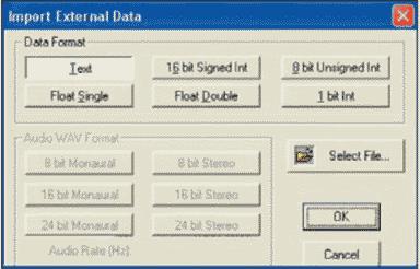 HDL Design Studio Диалоговое окно Import External Data