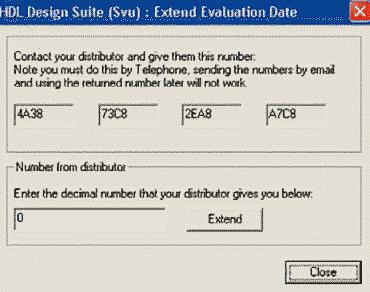 HDL Design Studio. Диалоговое окно Extend Evaluation Date