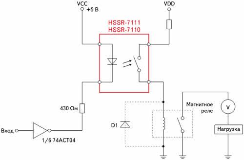 Оптрон HSSR-7111, управляющий работой электромагнитного реле